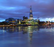 New London city hall at night. Panoramic view from river Royalty Free Stock Images