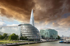 New London city hall with Thames river, panoramic view from Towe. R Bridge - UK Royalty Free Stock Photography