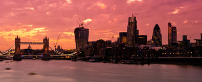 New London Skyline 2013 with deep red sunset royalty free stock images