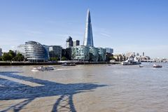 New London skyline with the Shard and Tower Bridge shadow Royalty Free Stock Image