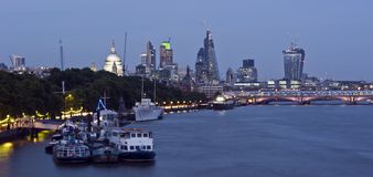 New London Skyline 2013. With St Paul's Cathedral, skyscrapers of The City including The Gherkin, the Cheesegrater, 20 Fenchurch Street Walki-Talkie. Motion Royalty Free Stock Photography