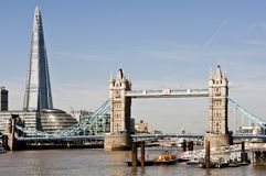 New London skyline with Tower Bridge and the new The Shard. Shot in 2013 Stock Images