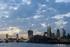 New London skyscrapers 2013. New London Skyline 2013 with Tower Bridge and skyscrapers of The City including 20 Fenchurch Street Walki-Talkie (L), 122 Leadenhall Royalty Free Stock Image