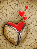 New love 3d concept. New shiny heart under broken one Royalty Free Stock Images