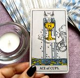 Ace of Cups Tarot Card New love Love Joy Happiness Happy News Contentment Beginnings of Love Conception Big Hearted Sharing. New love Love Joy Happiness Happy stock photography