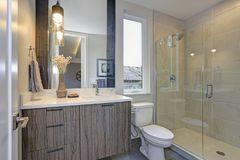New luxury bathroom in grey tones. Offers glass shower and single vanity cabinet royalty free stock photography