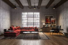 New luxury loft interior with red velvet sofa.  Stock Images