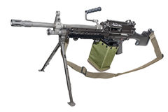 New machine gun. On the tripod isolated on white. Clipping path included royalty free stock image