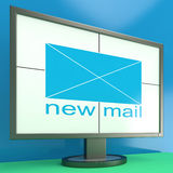 New Mail Envelope On Monitor Showing Received Stock Image