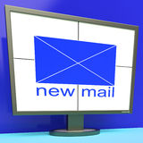 New Mail Envelope On Monitor Shows Mail Alert Royalty Free Stock Images