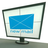 New Mail Envelope On Monitor Shows New Messages Stock Photos