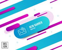 New Mail line icon. Add Message correspondence sign. Vector. New Mail line icon. Add Message correspondence sign. E-mail symbol. Diagonal abstract banner. Linear stock illustration