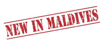 New in maldives  stamp. New in maldives  red stamp isolated on white background Stock Photography