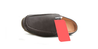 New male shoes. New brown male shoes  on white Royalty Free Stock Images