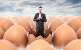New man born from an egg shell Royalty Free Stock Image