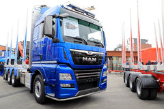New MAN TGX Logging Truck on Display stock photos