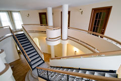 New mansion with staircase indoors Stock Image