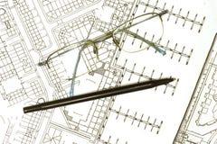 New marina?. Architects plans for a new marina Stock Image