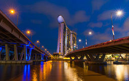 The new Marina Bay Sands resort and Helix Bridge. At dusk on December 25, 2011 in Singapore stock images