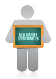 New market opportunities board sign concept Stock Photos