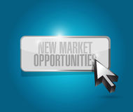 New market opportunities button sign concept Stock Image
