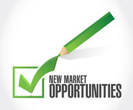 New market opportunities check mark sign concept Royalty Free Stock Photos