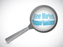 New market opportunities magnify glass sign Royalty Free Stock Photography