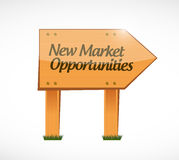 New market opportunities wood sign Stock Image