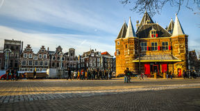 New Market square famous places of Amsterdam city centre at sun set time. AMSTERDAM, NETHERLANDS - JANUARY 05, 2017: New Market square famous places of royalty free stock photography