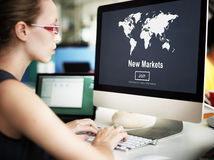 New Markets Commerce Selling Global Business Marketing Concept Stock Photos