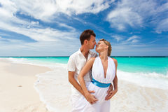 New married couple on beach Royalty Free Stock Photos