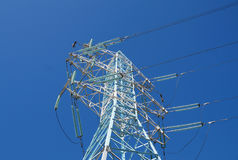 New mast of power lines Stock Photo