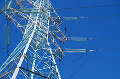 New mast of power lines Royalty Free Stock Photo