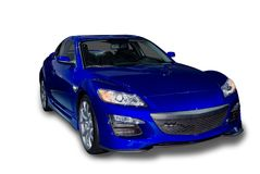 New Mazda RX-8 Sports Car. Bright blue Mazda RX8 sports car isolated on a white background. A realistic shadow is added to the underneath of the car. Pen tool stock photos