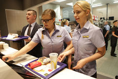 New McDonald`s at Grodzka Street, Cracow. KRAKOW, POLAND - JANUARY 03, 2017, Opening Ceremony McDonald`s at Grodzka Street, Old Town, Cracow Royalty Free Stock Images