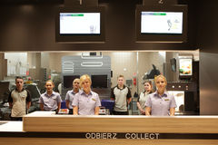 New McDonald`s at Grodzka Street, Cracow. KRAKOW, POLAND - JANUARY 03, 2017, Opening Ceremony McDonald`s at Grodzka Street, Old Town, Cracow Stock Photo