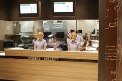 New McDonald`s at Grodzka Street, Cracow. KRAKOW, POLAND - JANUARY 03, 2017, Opening Ceremony McDonald`s at Grodzka Street, Old Town, Cracow Stock Image