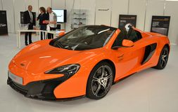 New McLaren650S orange luxury model at Brianza Mot Royalty Free Stock Images