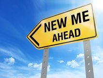 New me ahead sign. On blue sky background,3d rendered Stock Photo