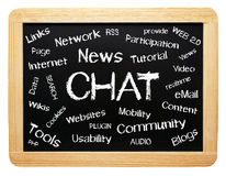 New Media. An image of a blackboard with words describing new media and social media made possible by the internet Stock Images