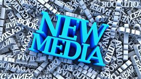 New Media vs Main Media. Analogue media words fallen around new media words vector illustration
