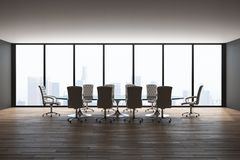 New meeting room. Interior with panoramic city view, furniture and daylight. 3D Rendering stock illustration
