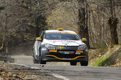 New Megane N4 rally car. The new Renault Megane rally N4 on race during the Rally del Ciocco Valid for CIR (Italian Rally Championship) ,driven by Andrea Stock Images