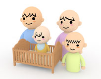 New members of the family. Baby is born. New family members. Everyone will smile. Cartoon-style illustrations. Images created in 3D Royalty Free Stock Photography