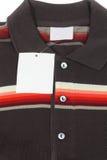 New men's shirt. Blank label on new men's shirt Stock Image