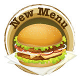 A new menu label with a big burger Stock Images