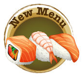 A new menu label with sushi. Illustration of a new menu label with sushi on a white background Stock Images
