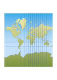New mercator. Map of the world centered in Europe and Africa. mercator projection royalty free illustration