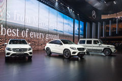 New Mercedes Benz Cars at the IAA. FRANKFURT, GERMANY - SEP 22: New Mercedes Benz Cars at the IAA International Motor Show 2015. September 22, 2015 in Frankfurt Royalty Free Stock Photo