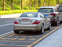 The new mercedes-benz slk. A brand new mercedes-benz slk roadster in guangzhou china Stock Photos